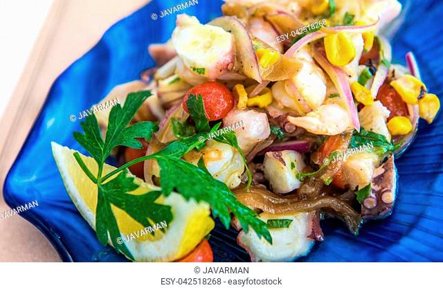 Delicious ceviche mixto mexican style, mixed seafood ceviche