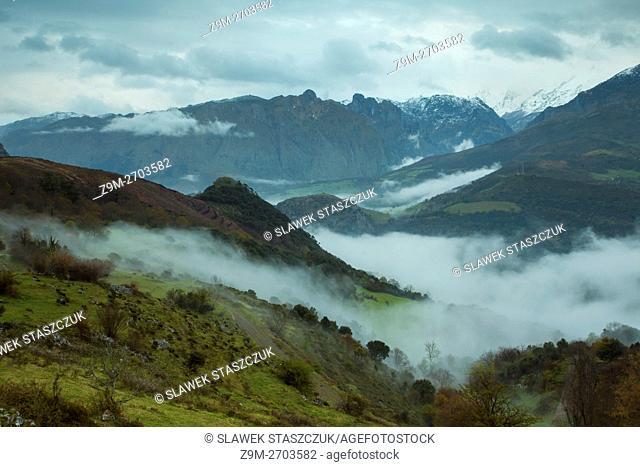 Misty dawn in Picos de Europa National Park near Asiego, Asturias, Spain