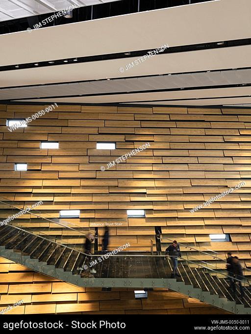 The main staircase. V&A Dundee, Dundee, United Kingdom. Architect: Kengo Kuma and Associates, 2018