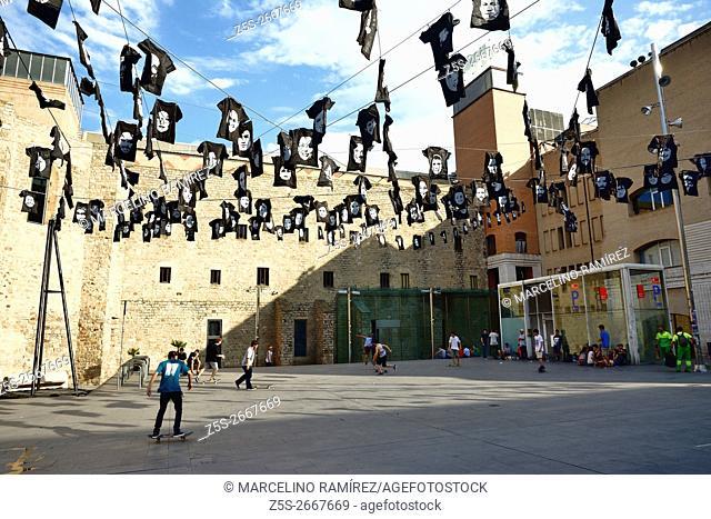 Plaça dels Àngels, in front of MACBA, Contemporary Art Museum Barcelona. Barcelona, Catalonia, Spain, Europe