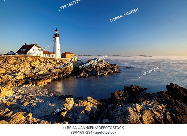 A winter dawn at Portland Head Lighthouse, Portland Maine USA