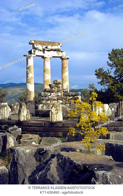 The Tholos Temple, Sanctuary of Athena ruins in Delphi, Greece