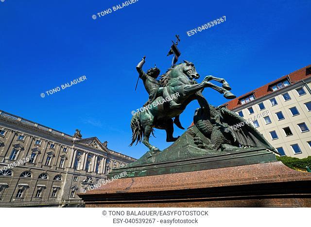 Berlin Saint Georges statue in Germany beside Spree river