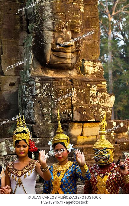 Dancers  Face-towers  Upper terrace  Bayon Temple  Angkor Thom  Siem Reap town, Siem Reap province  Cambodia, Asia