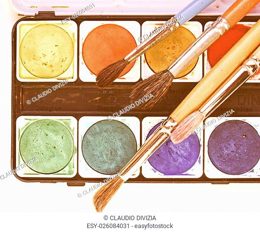 Painting tools colour palette and brushes vintage