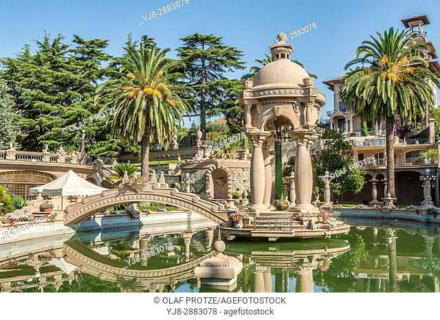 Park and the bizarre architecture of the Villa Grock in Ornelia, Imperia, at the Ligurian Coast, North West Italy