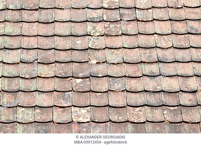 Old roofing tiles of a barn