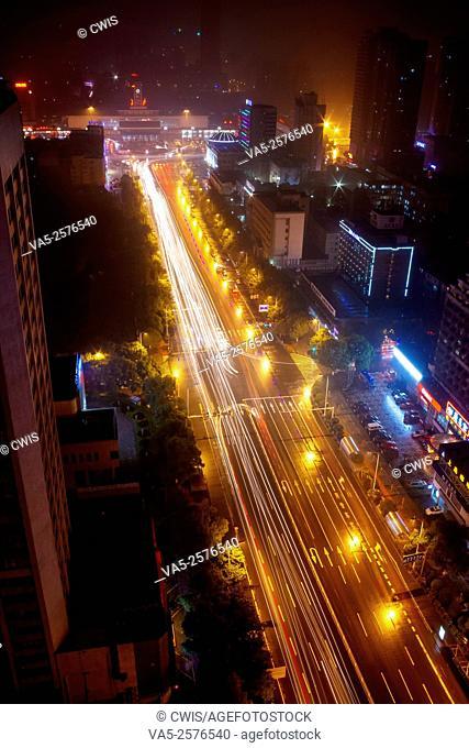 Changsha, Hunan province, China - Night view of Wuyi Road, the main road of the city