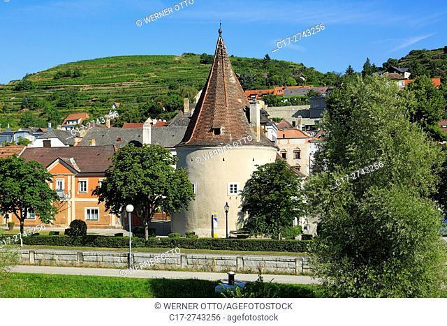 Austria, Lower Austria, A-Krems an der Donau, Danube, Wachau, Waldviertel, A-Krems-Stein, A-Stein an der Donau, city view, Danube promenade, Fisherman Tower