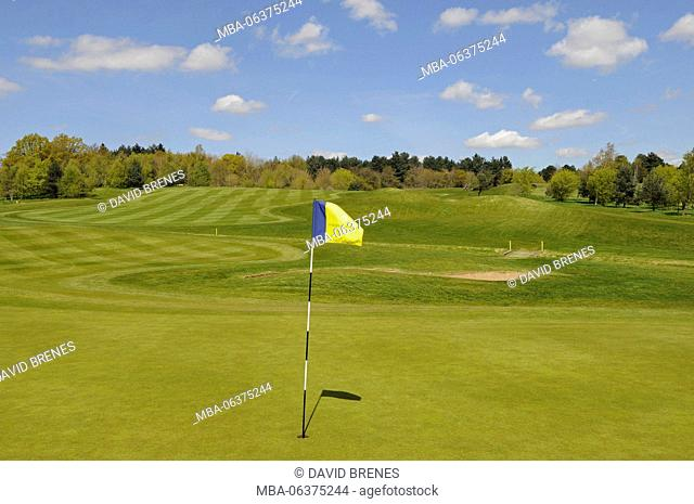 View over 9th Green with Flag to the Fairway Birchwood Park Golf Club, Kent, England