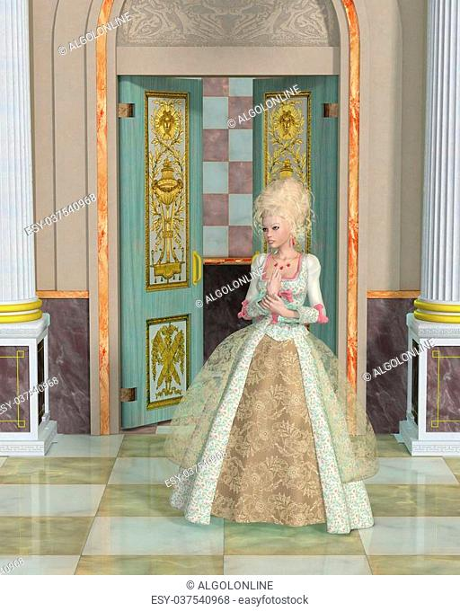 Imaginary illustration of Marie Antoinette, Queen of France and Navarre from 1774 to 1792 standing in the Palace of Versailles