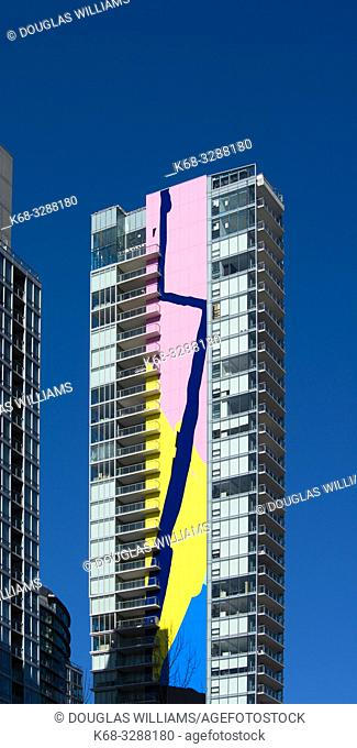 The Charleson, apartment tower in downtown Vancouver, BC, Canada, with a 416 foot high mural named Finger Paint by artist Elizabeth McIntosh