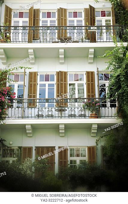 Apartment Facade with Windows in Tel Aviv, Israel
