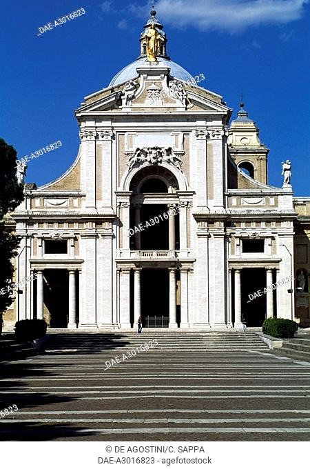 Facade of the Basilica of St Mary of the Angels, 1924-1930, by Cesare Bazzani (1873-1939), Assisi (UNESCO World Heritage List, 2000), Umbria