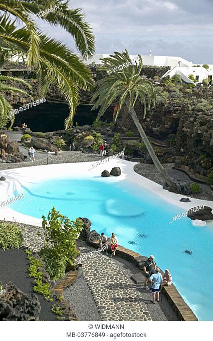 Spain, Lanzarote, Jameos Del  Agua, hotel, pool installation, overview,  Canaries, Canaries island, island, garden landscape Cesar Manrique, Jameo Grande pool