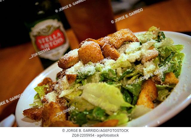 One portion of Caesar salad