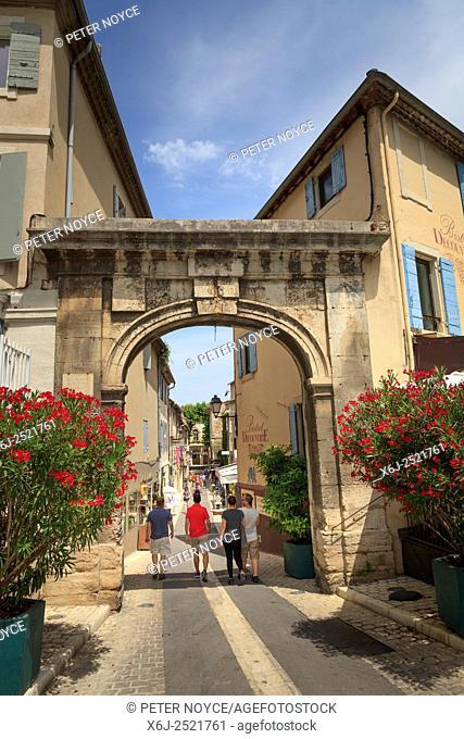 Arched entrance to Saint-Remy-de-Provence at Rue de la Commune France