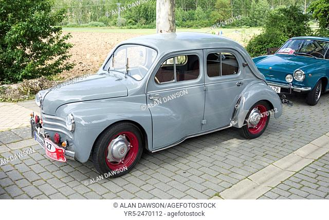 Renault 4CV built in Valladolid in Spain in the 1950`s at classic car show in Aguilar de Campoo, Palencia province, Spain
