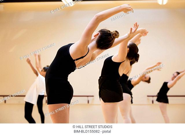 Ballet dancers rehearsing in studio