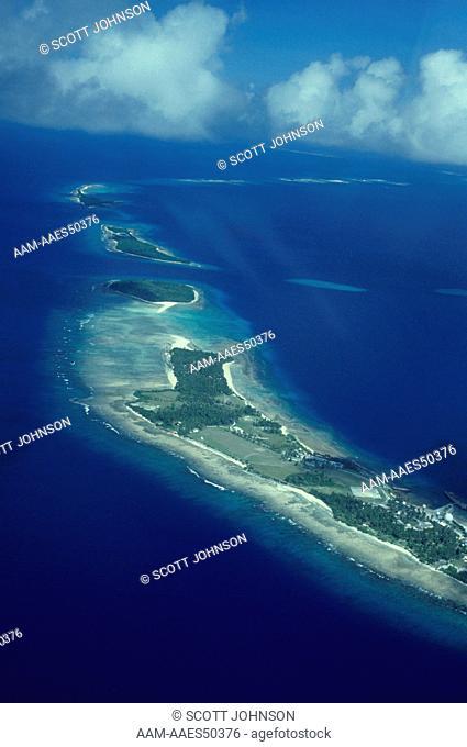 Kwajalein Atoll, West Reef w/Deep Water Ship Channel in Reef between 2 Islands