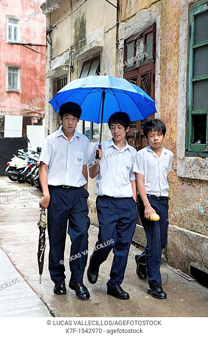 Students near Rua de Monte,Macau,China