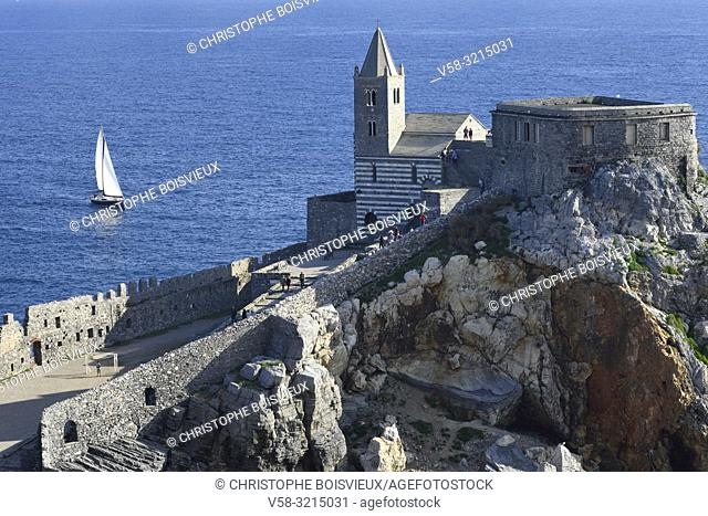 Italy, Liguria, World Heritage Site, Porto Venere, St Peter (San Pietro) church (5-13th C)