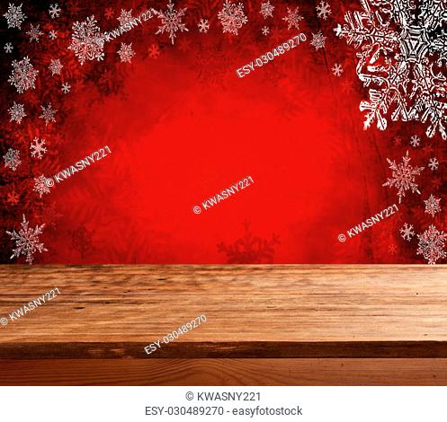 Empty wooden deck table with christmas background. Ready for product display montage