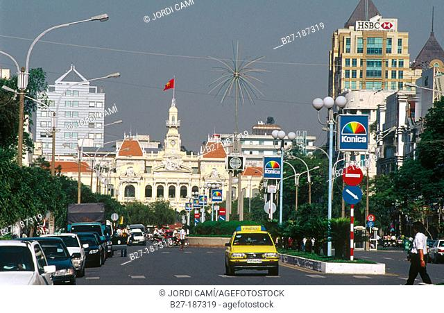 Nguyen Hue Road. Old Town Hall in background. Ho Chi Minh City. Vietnam