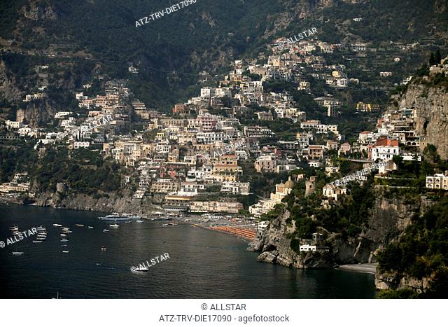 POSITANO AND MEDITERRANEAN SEA FROM VIA ARIENZO; AMALFI DRIVE, SOUTHERN ITALY; 16/09/2011