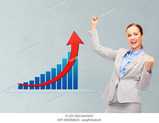 business, success, triumph and people concept - young happy businesswoman with hands up over gray background and growth chart