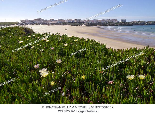 BELEAL, PORTUGAL - May 6, 2017: Group of people on Gamboa Beach in Baleal on the Atlantic coast of Portugal