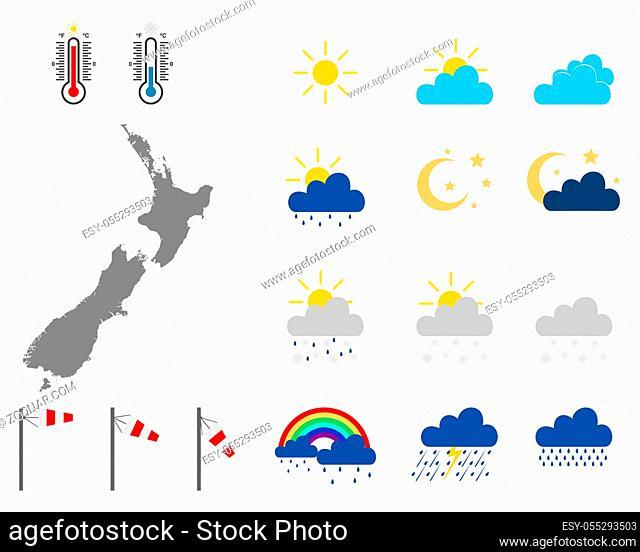 Karte von Neusseland mit Wettersymbolen - Map of New Zealand with weather symbols