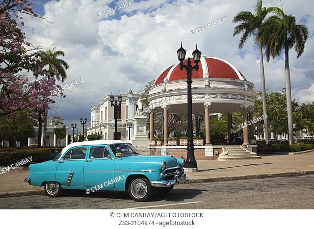 View to the Pavilion at Parque Jose Marti in Plaza de Armas Square at the historic center, Cienfuegos, Cuba, West Indies, Central America