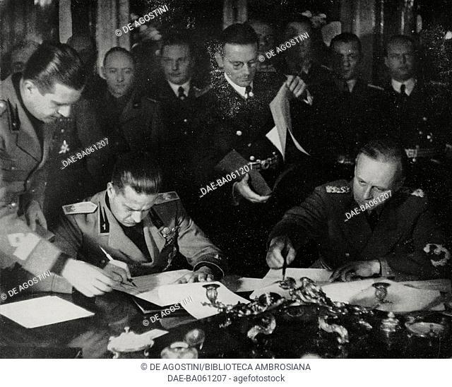 Galeazzo Ciano and Joachim von Ribbentrop, First Vienna Award, November 2, 1938, Austria, from L'Illustrazione Italiana, Year LXV, No 46, November 13, 1938