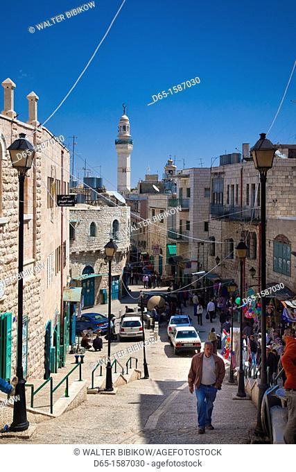 Israel, West Bank, Bethlehem, pedestrians on Pope Paul VI Street