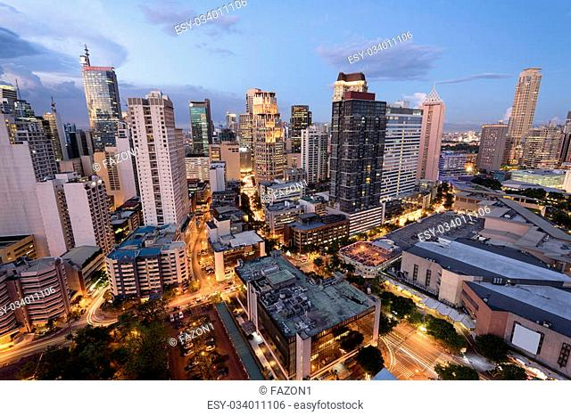 Eleveted, night view of Makati, the business district of Metro Manila