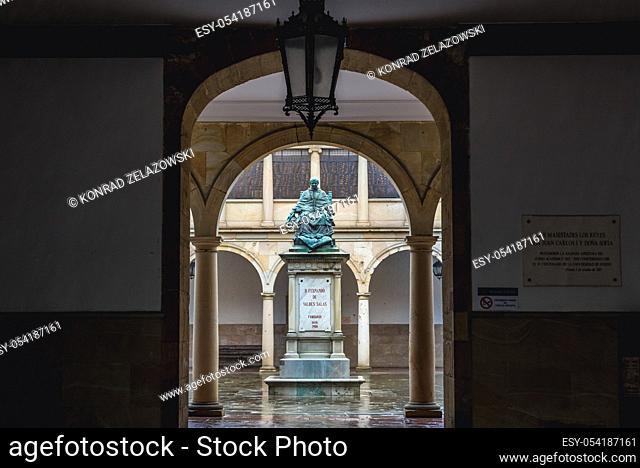 Statue of Archbishop Fernando de Valdes Salas on the courtyard of original historical building of University of Oviedo in Oviedo city, Spain