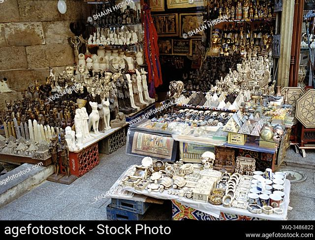 Tourist market in Khan Al-Khalili in Cairo in Egypt in North Africa