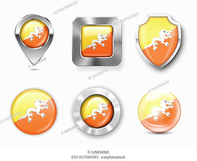 Bhutan Metal and Glass Flag Badges, Buttons, Map marker pin and Shields. Vector illustrations