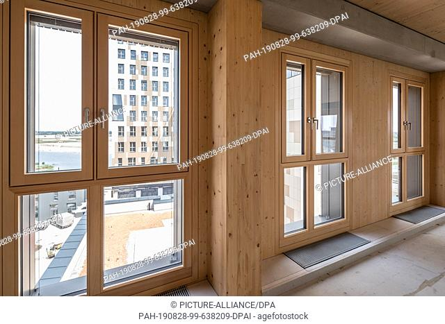 """27 August 2019, Austria, Wien: The window frames and walls inside the new """"""""Hoho Wien"""""""", a high-rise building consisting of 75 percent wooden parts from the..."""