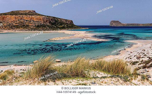 Akrotiri Tigani, Balos, blue, bay, Gramvousa, grass, Greece, Europe, peninsula, island, isle, Crete, Mediterranean, sea, pirate bay, province Chania