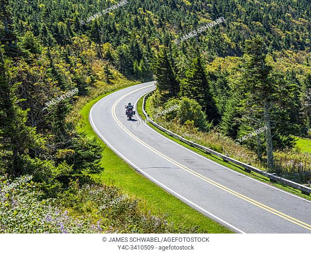 Mount Mitchell State Park Road leading to top of Mount Mitchell highest mountain in Eastern UNited Staes in the Appalachian Mountains of North Carolina