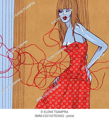 Woman in a red dress with flower pattern