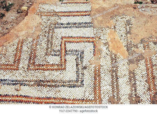 Mosaic floor in ancient Sufetula, today known as Sbeitla, Tunisia