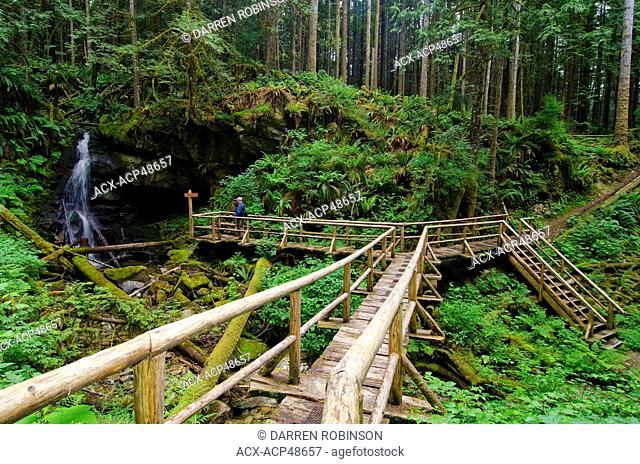 Hiker enjoys the views of Kelly Falls from the boardwalk along the Blackwater Creek Trail, near Powell River on British Columbia's Sunshine Coast