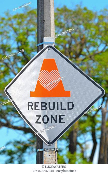 CHRISTCHURCH, NZL - DEC 07 2015:Rebuild Zone Sign in Christchurch - New Zealand.Over 1000 buildings in the CBD (Central Business District) were demolished...