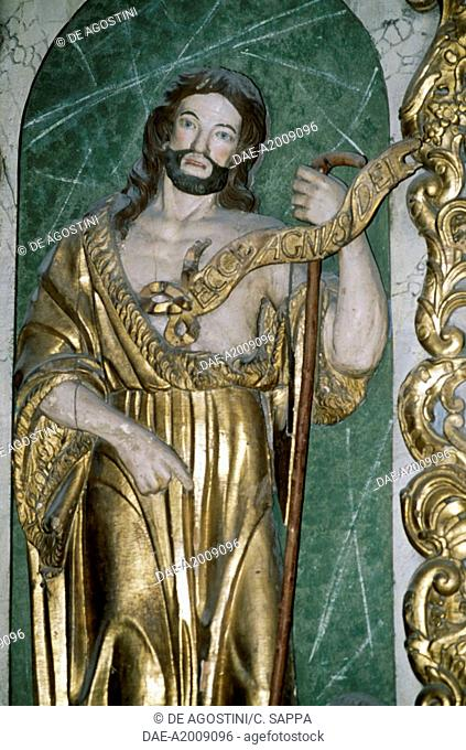 Jesus in gilded wood, decoration in the chapel of Chateau fort de Lourdes, Midi-Pyrenees. France, 11th-19th century