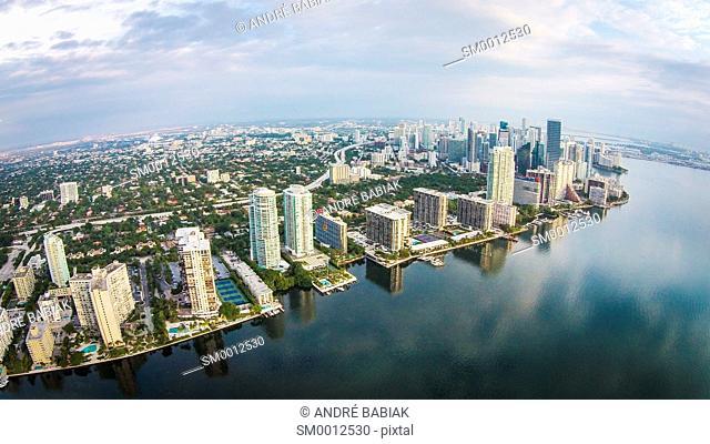 Aerial drone photo of cityscape of Miami, Florida, United States