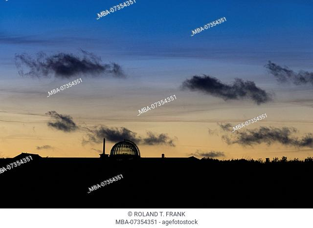 Germany, Lower Saxony, East Frisia, Juist, town silhouette at the blue hour