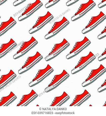 seamless pattern with red textile sneakers and white laces on a white background